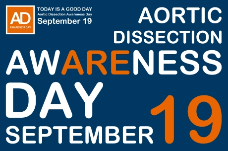 Aortic Dissection Awareness Day September 19 awareness day text blue